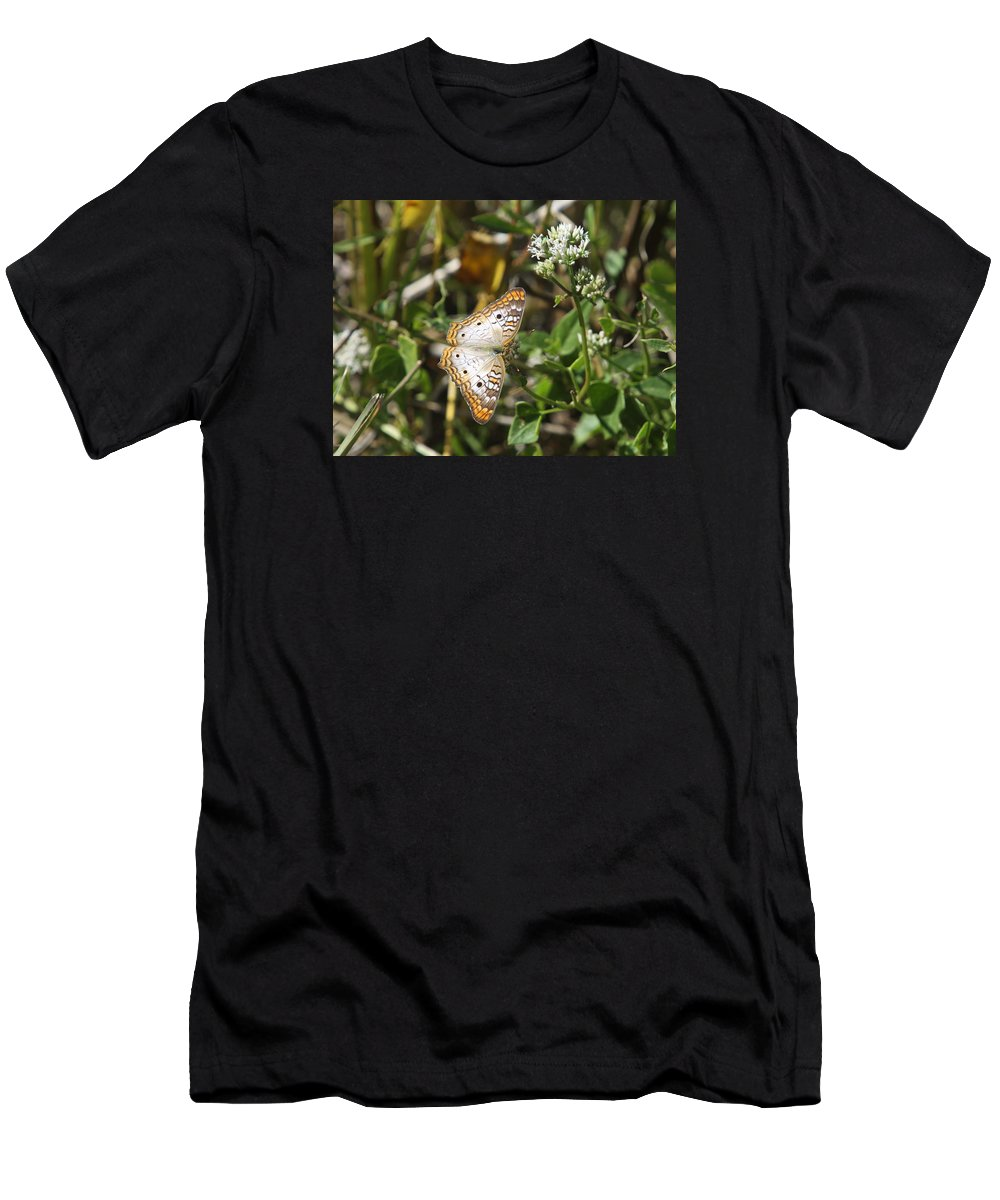 Butterfly Men's T-Shirt (Athletic Fit) featuring the photograph Snack For A White Peacock Butterfly by Christiane Schulze Art And Photography