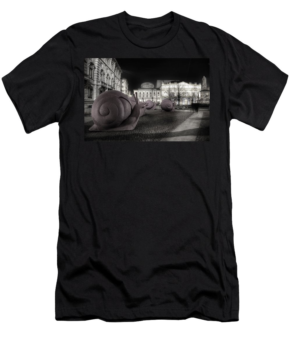 Snails Men's T-Shirt (Athletic Fit) featuring the photograph Snails Attack Milan Bw by Alfio Finocchiaro