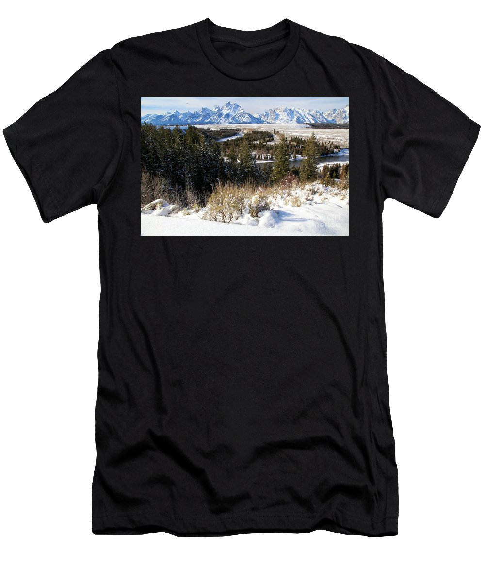 Grand Teton National Park Men's T-Shirt (Athletic Fit) featuring the photograph Snake River Overlook by Adam Jewell