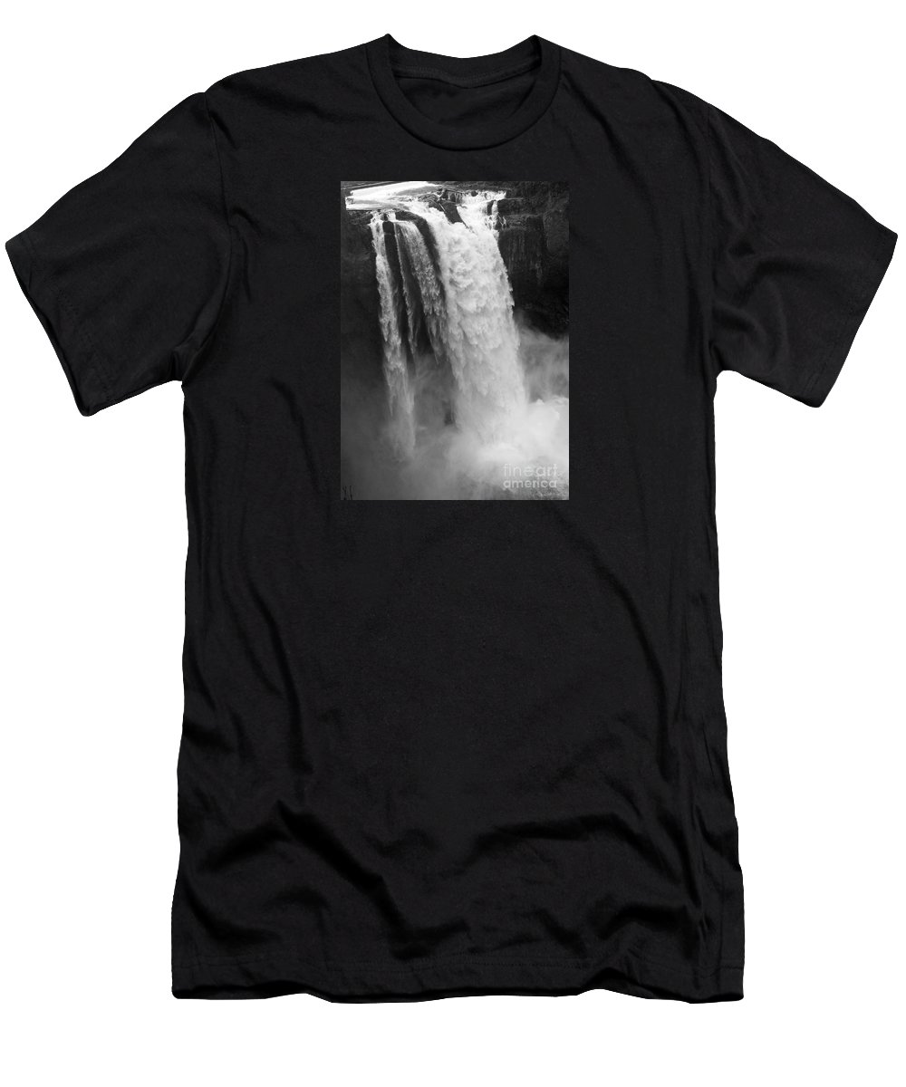 Snoqualmie Falls Men's T-Shirt (Athletic Fit) featuring the photograph Snoqualmie Falls - Black And White by Carol Groenen