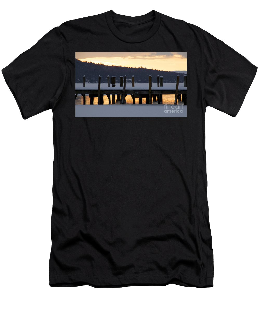 Meredith Men's T-Shirt (Athletic Fit) featuring the photograph Snow Covered Docks by Michael Mooney