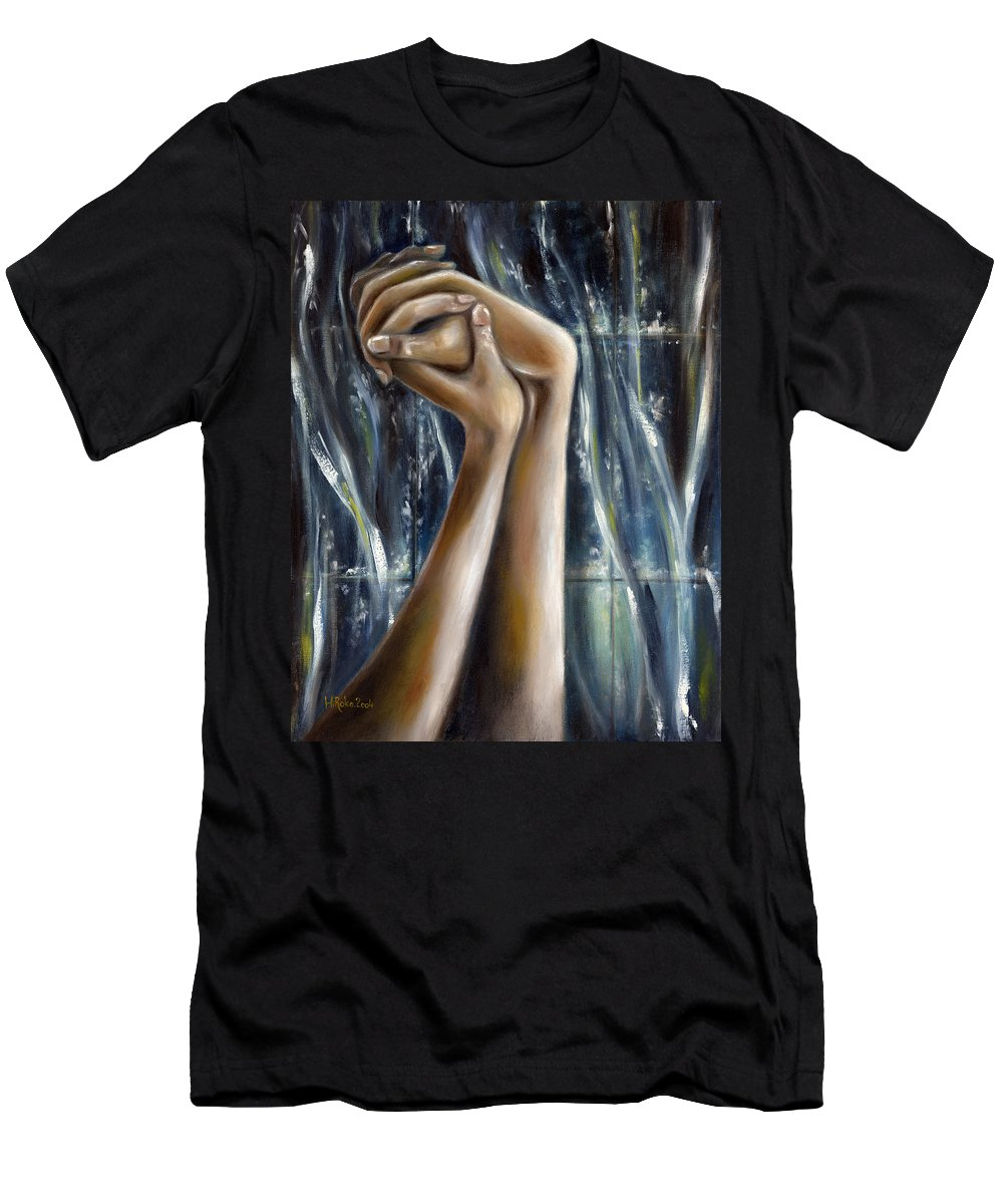 Blue Men's T-Shirt (Athletic Fit) featuring the painting Snow Light by Hiroko Sakai