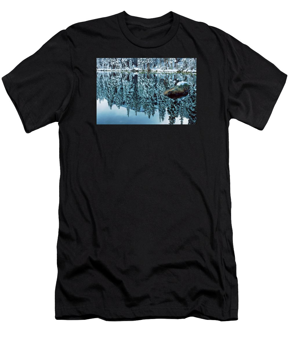Photograph Men's T-Shirt (Athletic Fit) featuring the photograph Snow Mirror by Eric Glaser