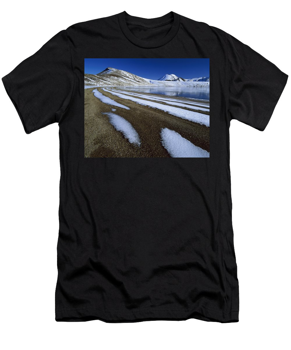 Feb0514 Men's T-Shirt (Athletic Fit) featuring the photograph Snow Patterns Near Blue Lake Mt by Harley Betts
