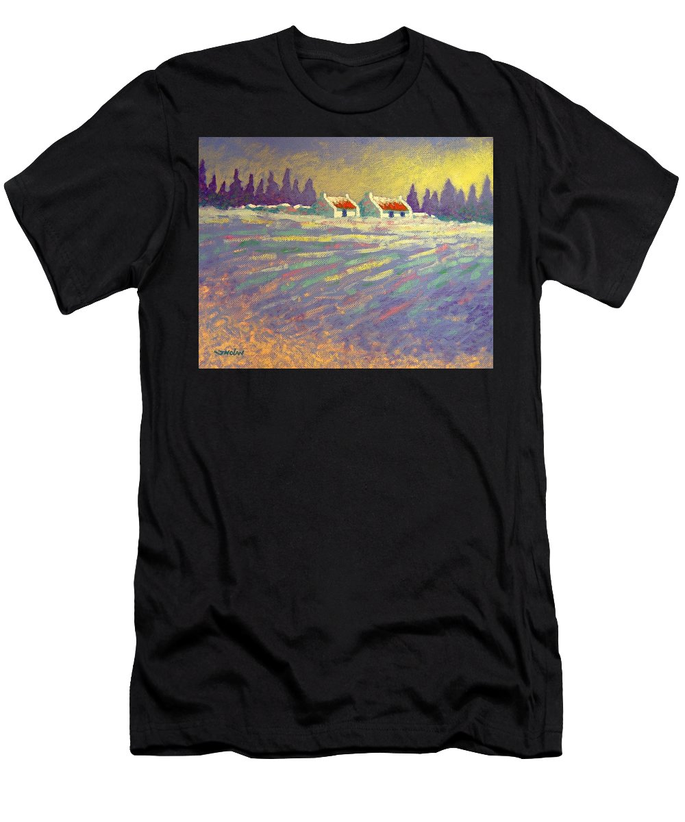 Ireland Men's T-Shirt (Athletic Fit) featuring the painting Snow Scape County Wicklow by John Nolan