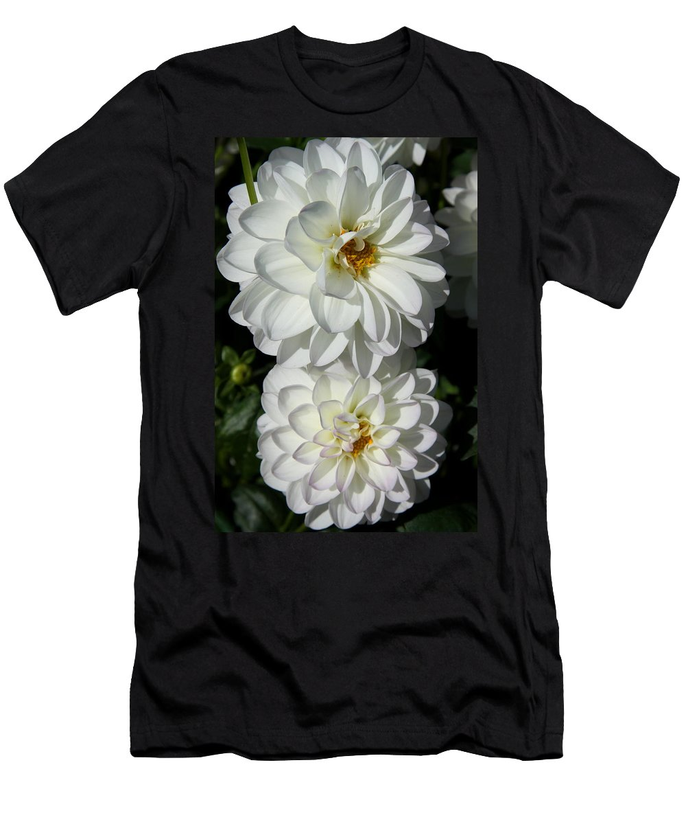 Dahlia Men's T-Shirt (Athletic Fit) featuring the photograph Snow White by Christiane Schulze Art And Photography