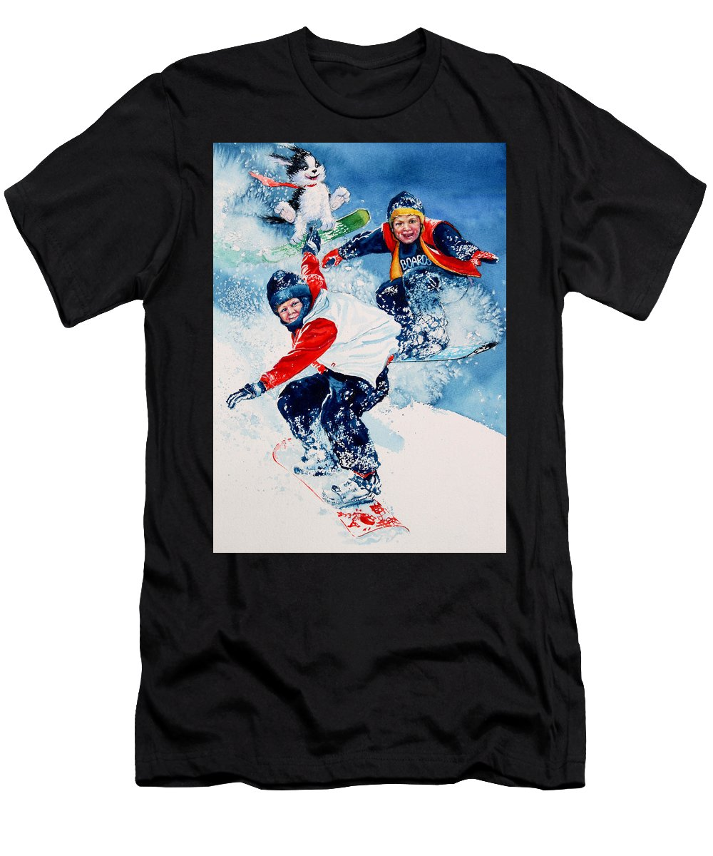 Kids Room Men's T-Shirt (Athletic Fit) featuring the painting Snowboard Super Heroes by Hanne Lore Koehler
