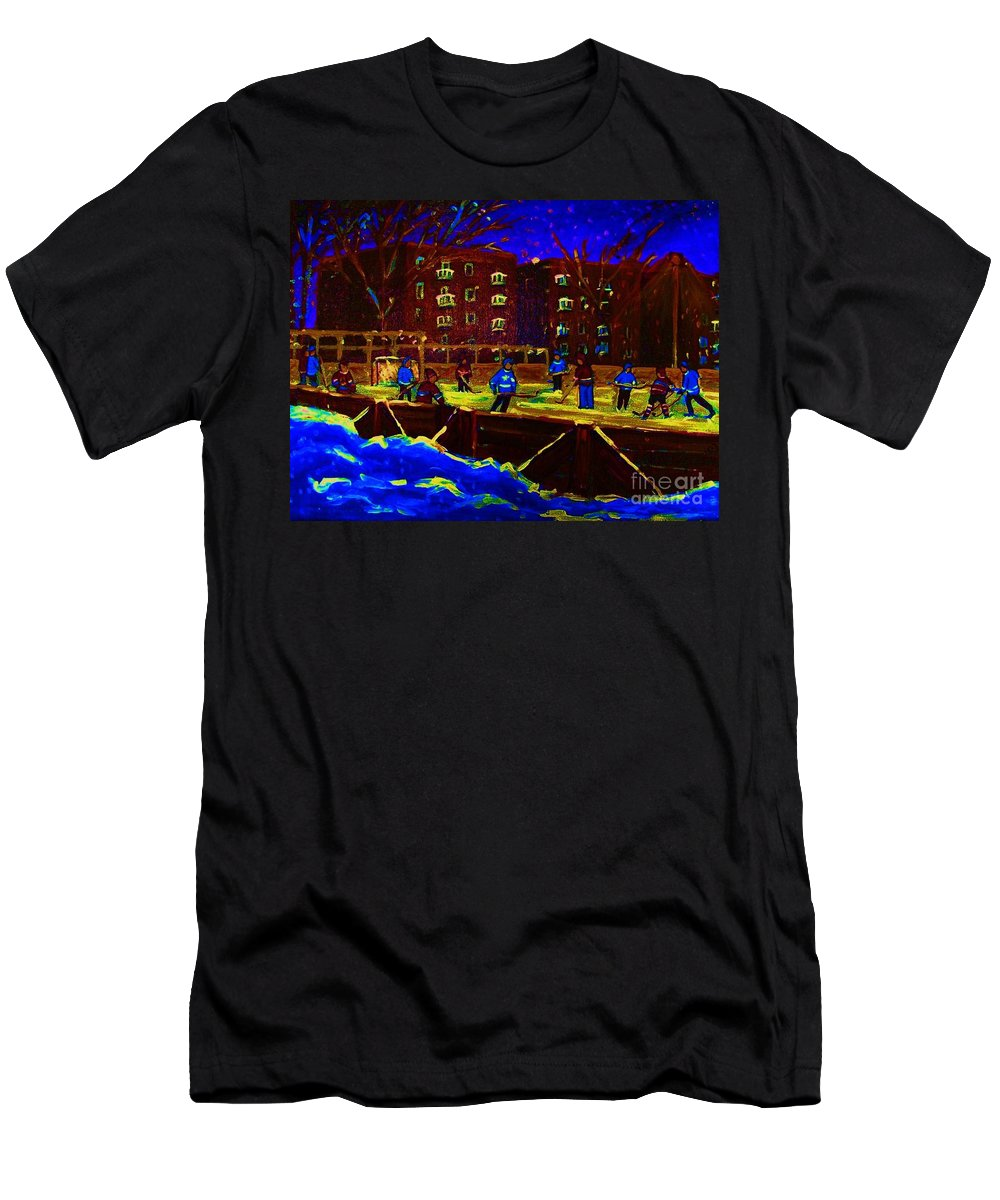 Hockey Men's T-Shirt (Athletic Fit) featuring the painting Snowing At The Rink by Carole Spandau