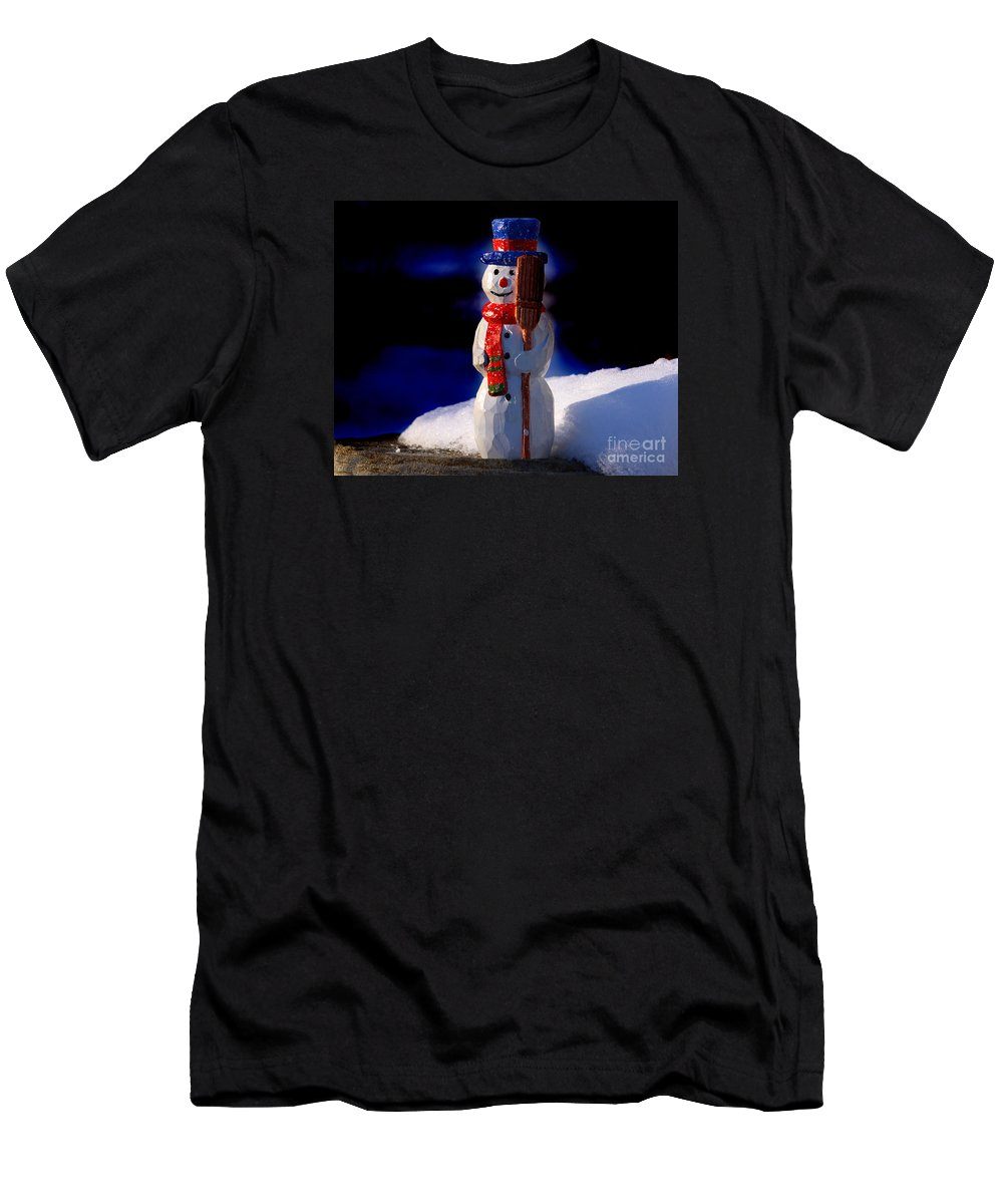 Snowman Men's T-Shirt (Athletic Fit) featuring the sculpture Snowman By George Wood by Karen Adams