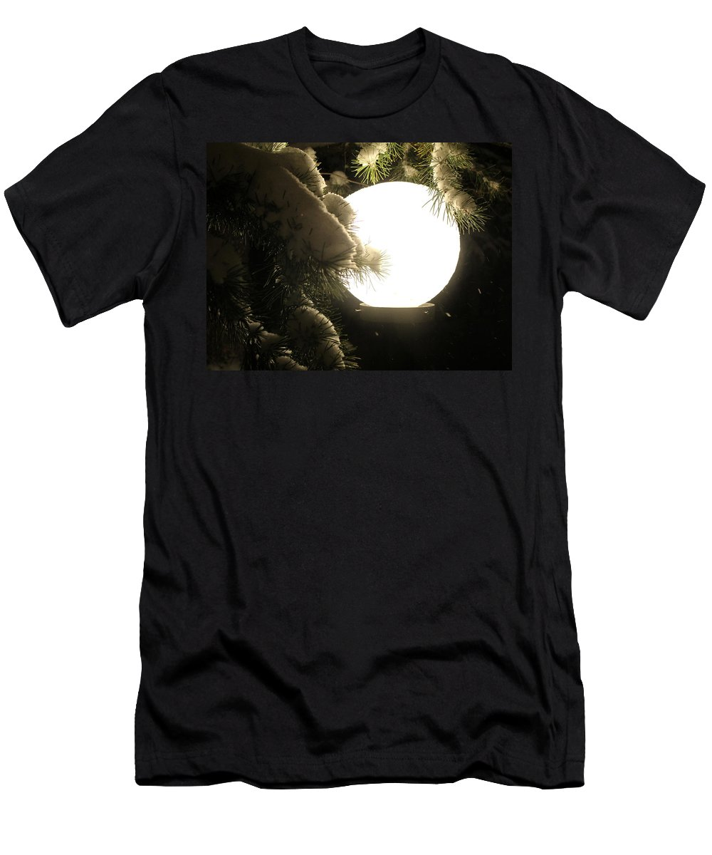Snow Men's T-Shirt (Athletic Fit) featuring the photograph Snowy Night by Fiona Kennard
