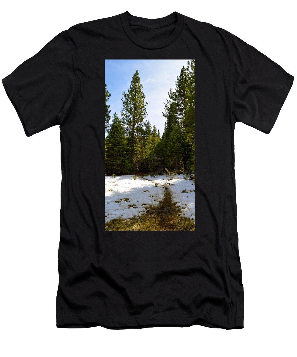 Nevada Men's T-Shirt (Athletic Fit) featuring the photograph Snowy Path by Brent Dolliver