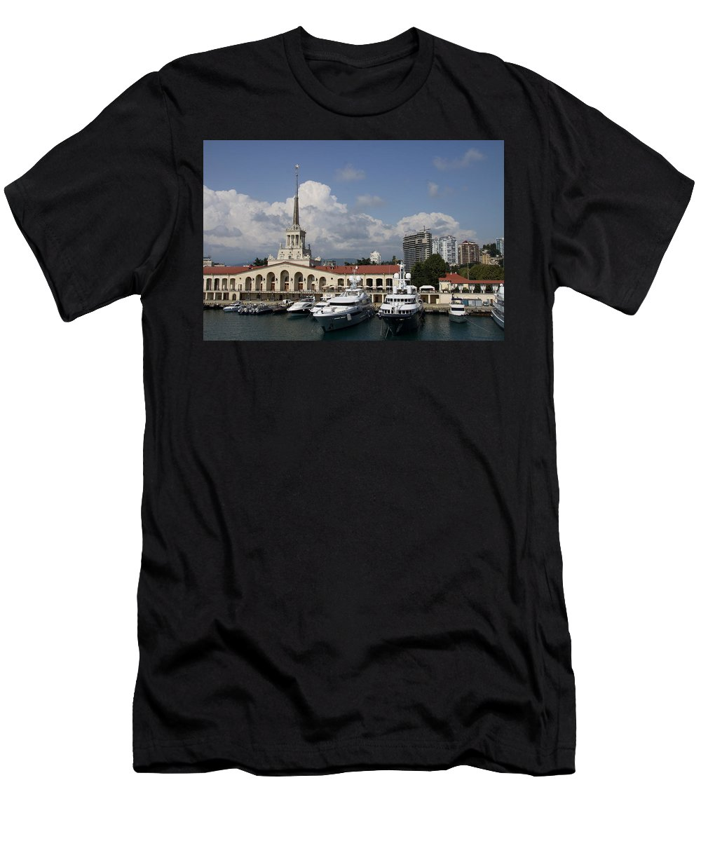 Harbor Men's T-Shirt (Athletic Fit) featuring the photograph Sochi Harbor - Russia by Christiane Schulze Art And Photography