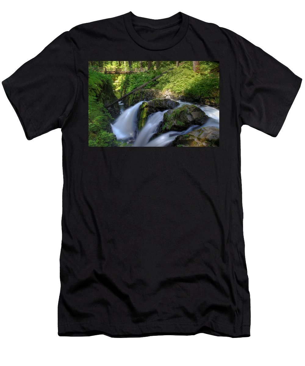 Waterfall Men's T-Shirt (Athletic Fit) featuring the photograph Sol Duc Falls by John Absher