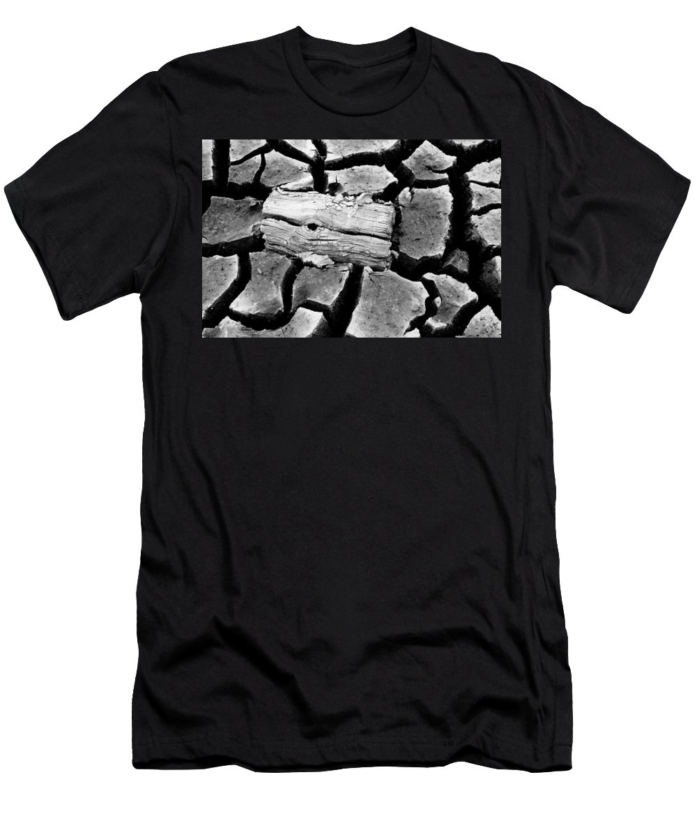 Dirt Men's T-Shirt (Athletic Fit) featuring the photograph Some More Wood Black And White by Teri Schuster
