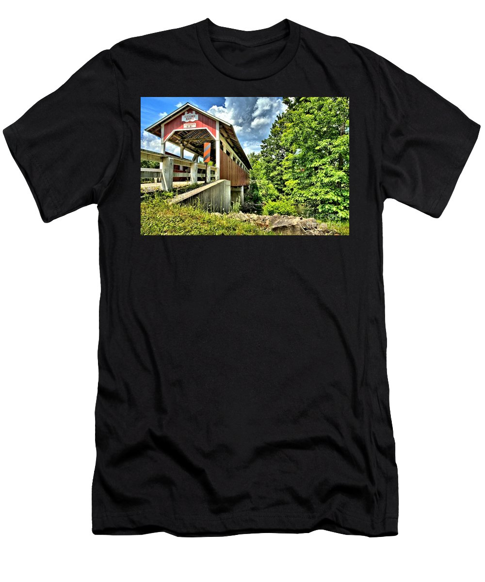 Covered Bridge Men's T-Shirt (Athletic Fit) featuring the photograph Somerset Glessner Bridge by Adam Jewell