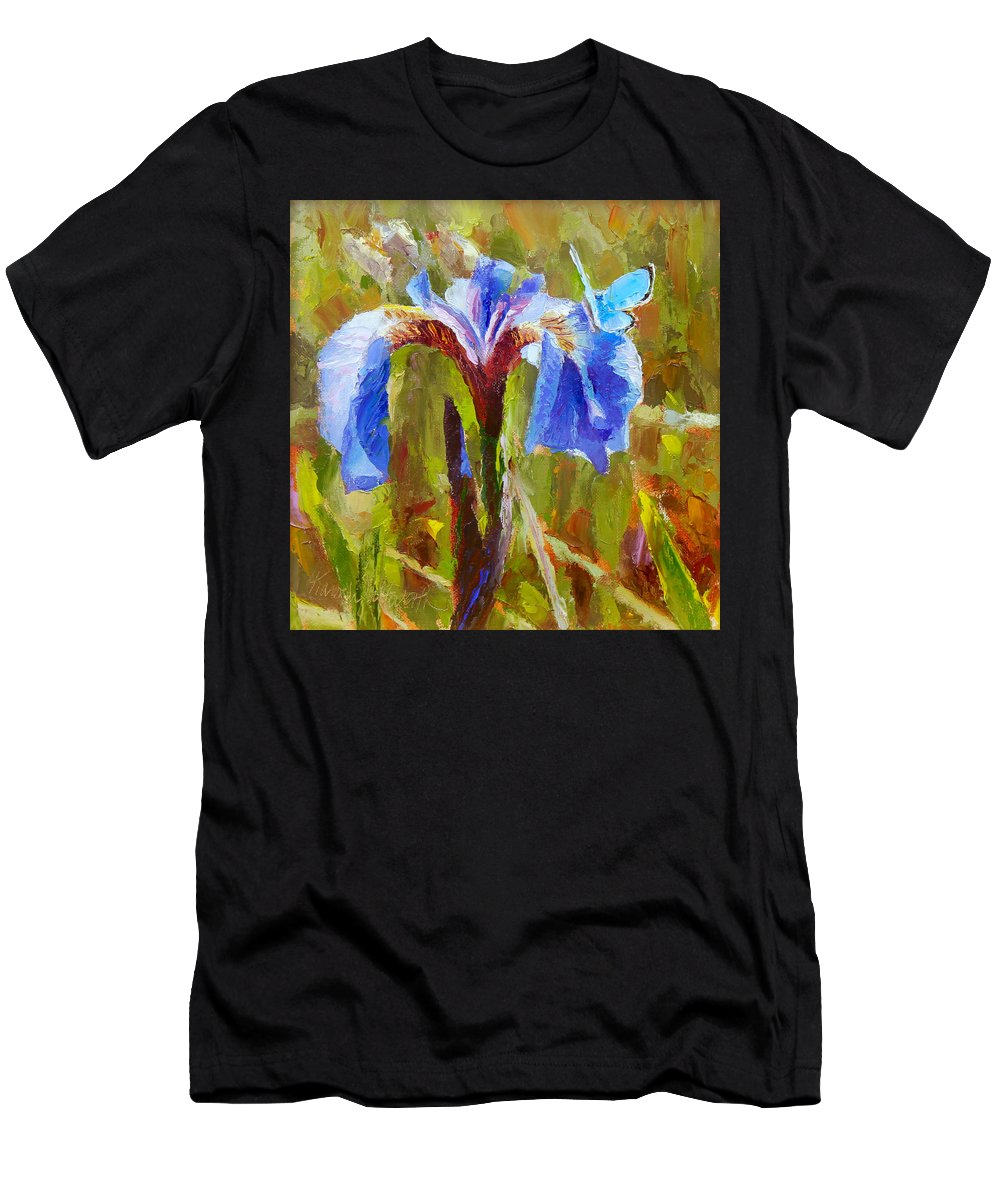 Iris Men's T-Shirt (Athletic Fit) featuring the painting Alaskan Wild Iris And Blue Butterfly Flower Painting by Karen Whitworth