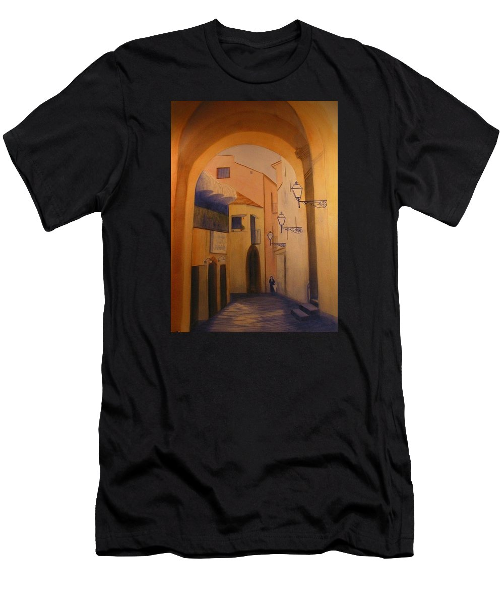 Italy Men's T-Shirt (Athletic Fit) featuring the painting Sorento Scene by Carol Oberg Riley