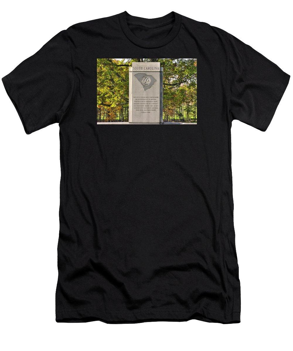 Civil War Men's T-Shirt (Athletic Fit) featuring the photograph South Carolina At Gettysburg - Close 1 by Michael Mazaika