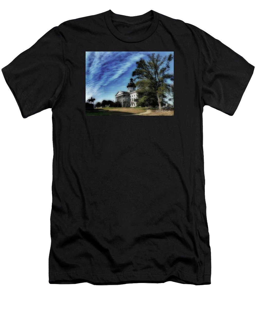 Scenic Tours Men's T-Shirt (Athletic Fit) featuring the photograph South Carolina State House by Skip Willits