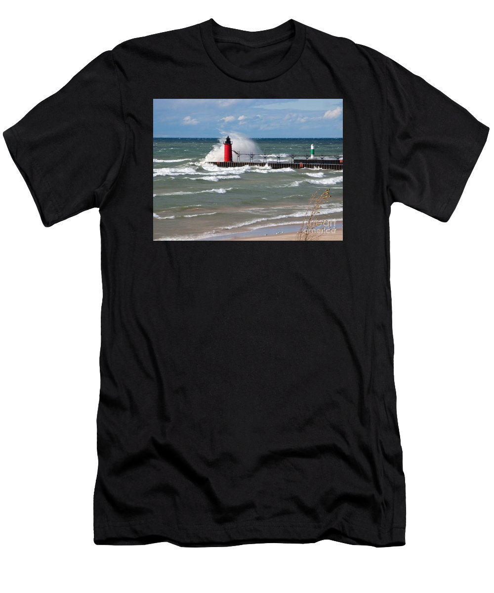 Lighthouse Men's T-Shirt (Athletic Fit) featuring the photograph South Haven Splash by Ann Horn