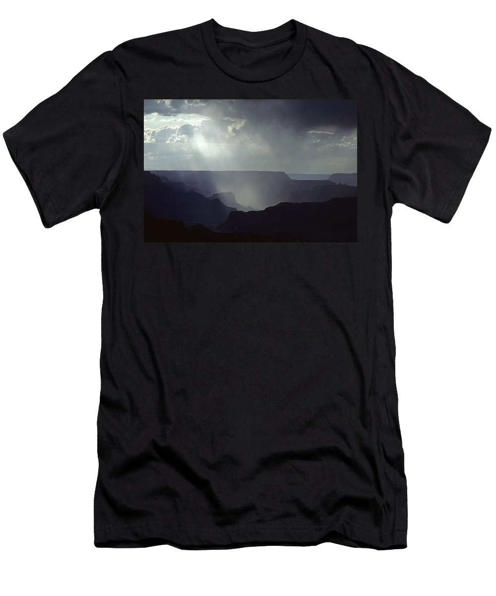 Grand Canyon National Park Men's T-Shirt (Athletic Fit) featuring the photograph South Rim Grand Canyon Storm Clouds And Light On Rock Formations by Jim Corwin