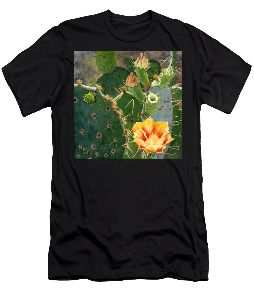 Nature Men's T-Shirt (Athletic Fit) featuring the painting South Texas Prickly Pear by Sue Sill