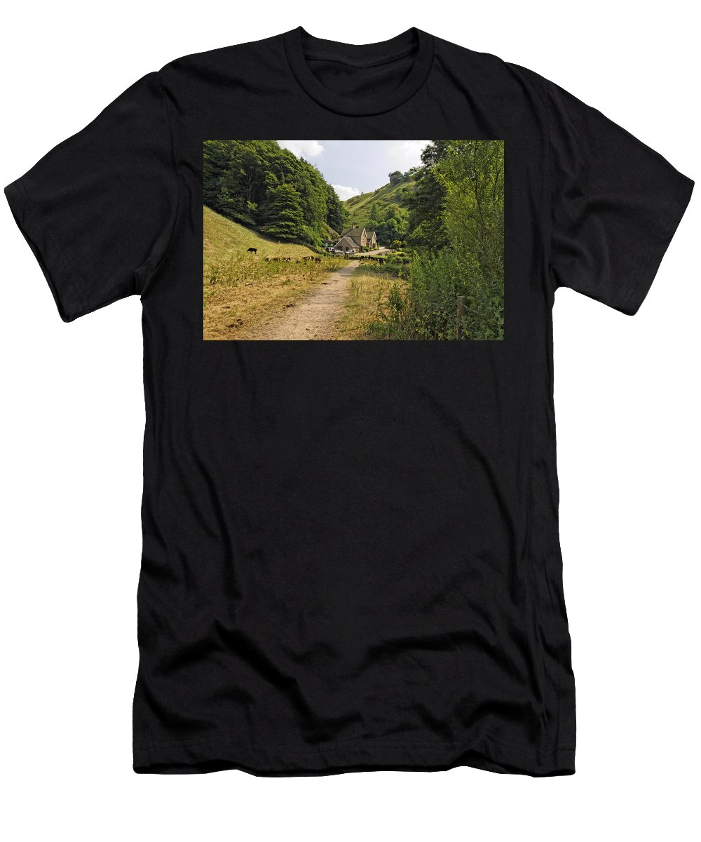 Britain Men's T-Shirt (Athletic Fit) featuring the photograph Southern End Of Wolfscote Dale by Rod Johnson