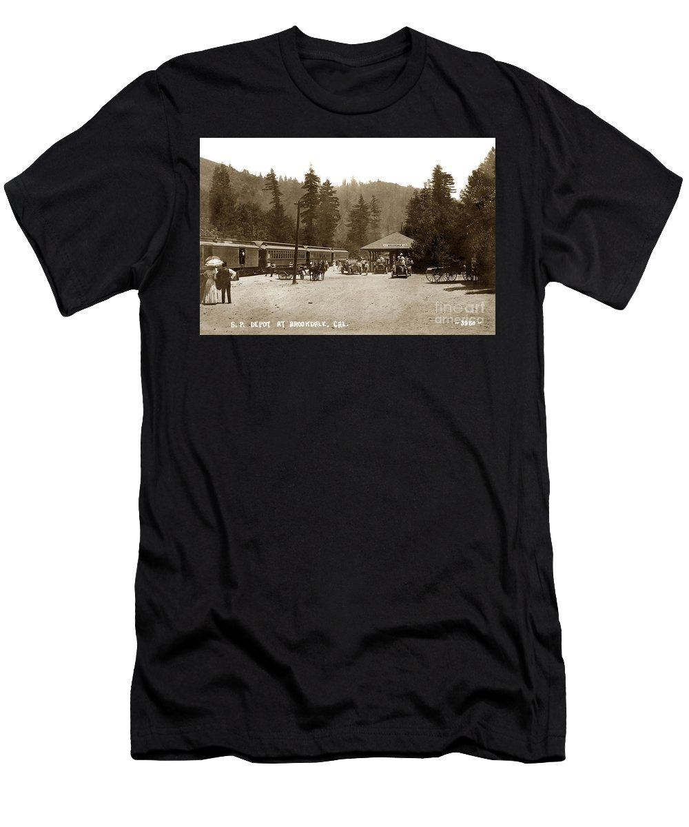 Southern Pacific Men's T-Shirt (Athletic Fit) featuring the photograph Southern Pacific Depot At Brookdale Santa Cruz Co. Cal. Circa 1910 by California Views Archives Mr Pat Hathaway Archives