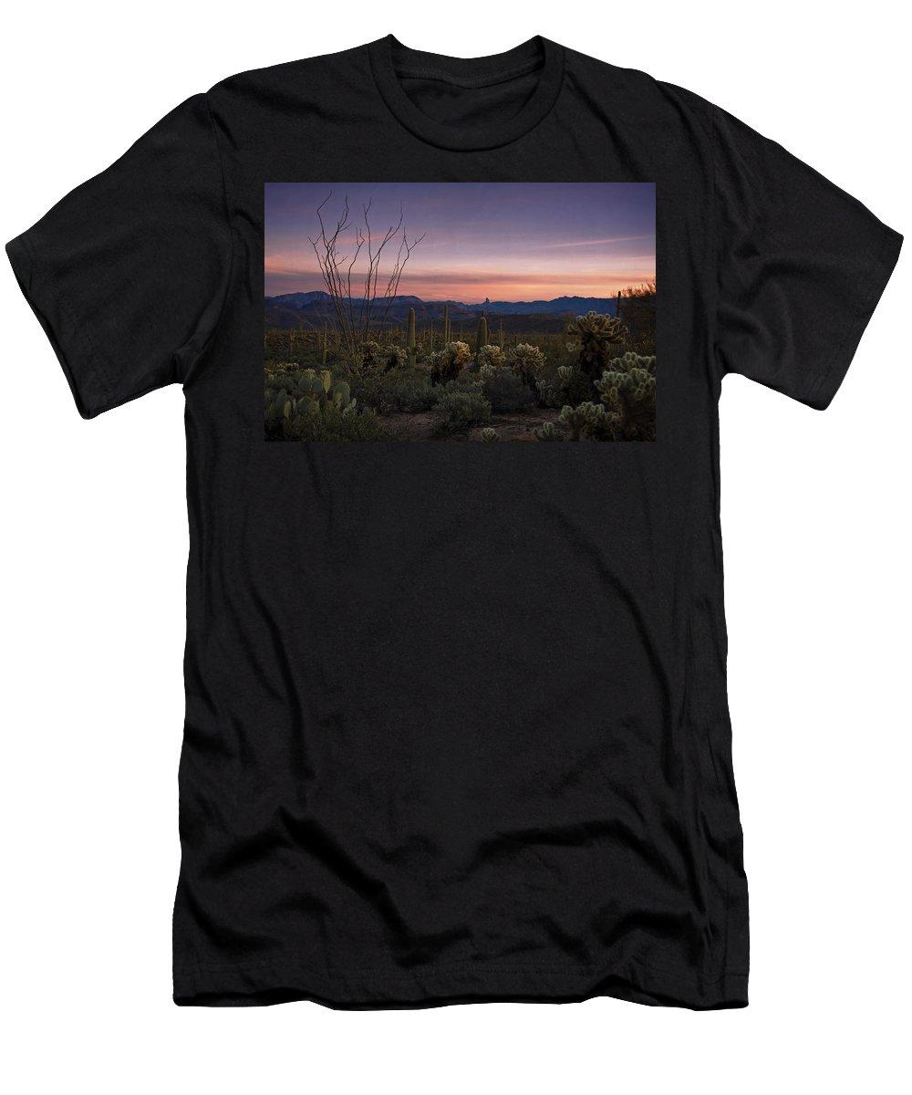 Sunset Men's T-Shirt (Athletic Fit) featuring the photograph Southwest Serenity by Saija Lehtonen