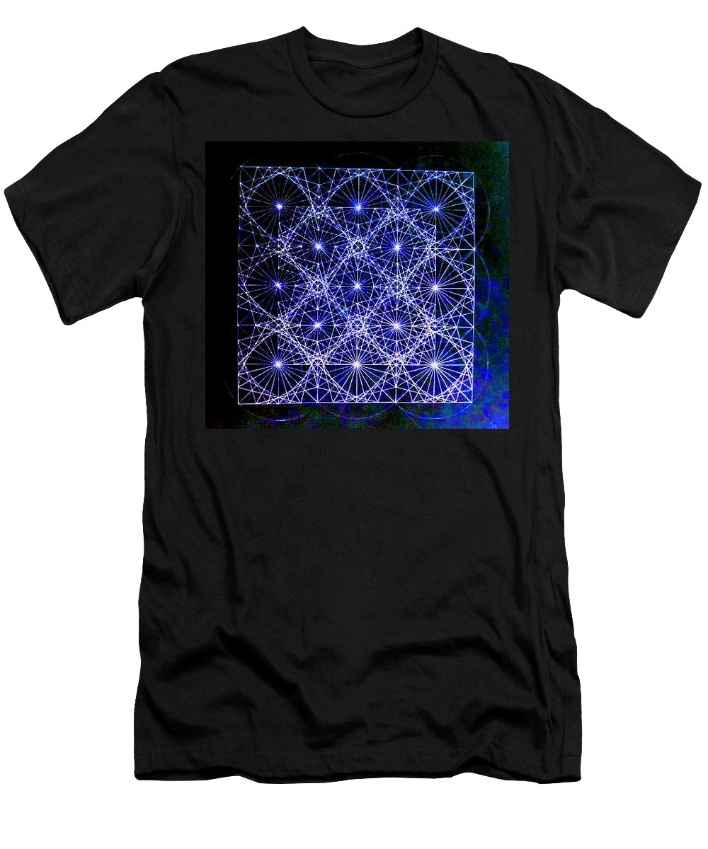 Space Men's T-Shirt (Athletic Fit) featuring the drawing Space Time At Planck Length Vibrating At Speed Of Light Due To Heisenberg Uncertainty Principle by Jason Padgett