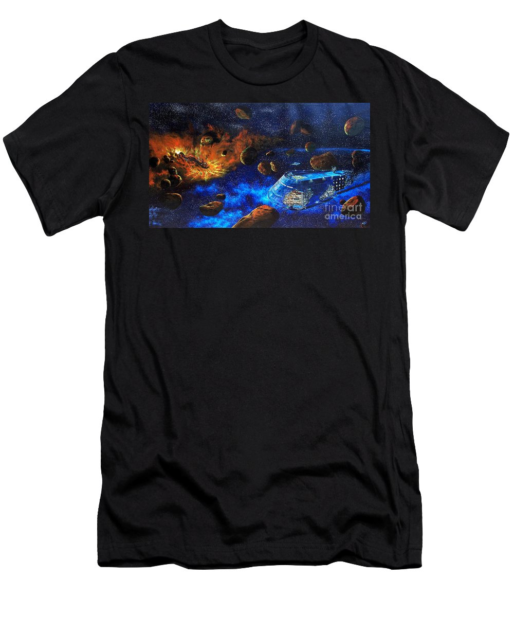 Future Men's T-Shirt (Athletic Fit) featuring the painting Spaceship Titanic by Murphy Elliott