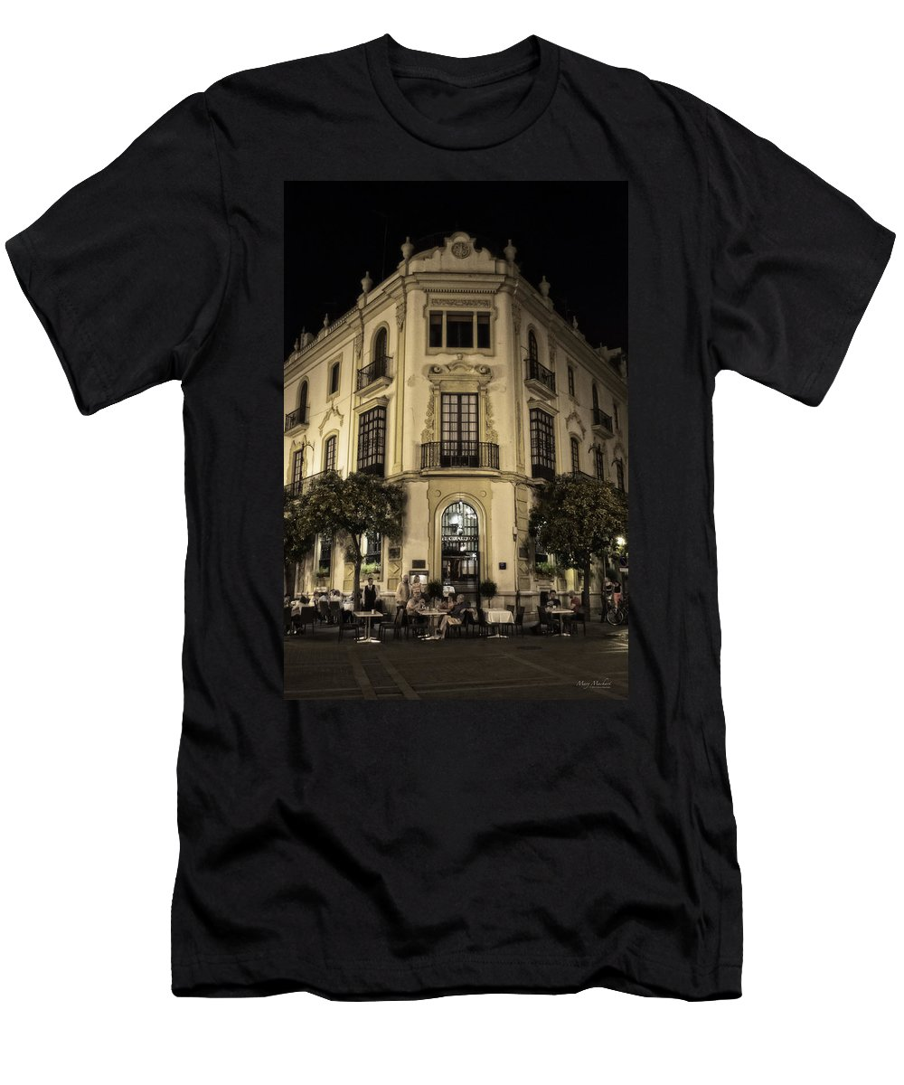 Spain At Night Men's T-Shirt (Athletic Fit) featuring the photograph Spain At Night by Mary Machare