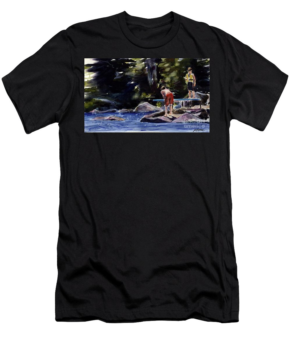 Lake Men's T-Shirt (Athletic Fit) featuring the painting Sparkle Lake by Molly Poole