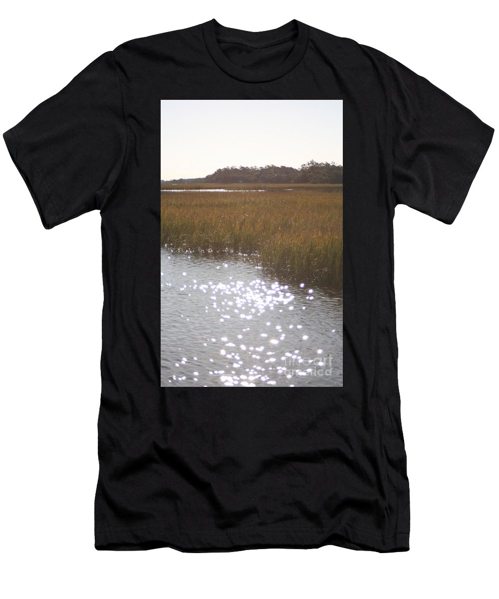 Marsh Men's T-Shirt (Athletic Fit) featuring the photograph Sparkling Marsh by Nadine Rippelmeyer