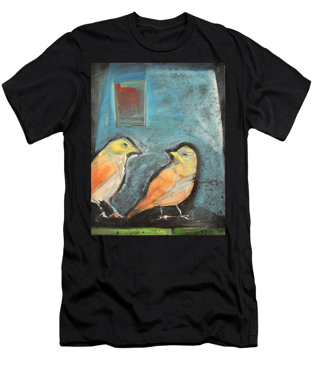 Birds Men's T-Shirt (Athletic Fit) featuring the painting Sparrows by Tim Nyberg