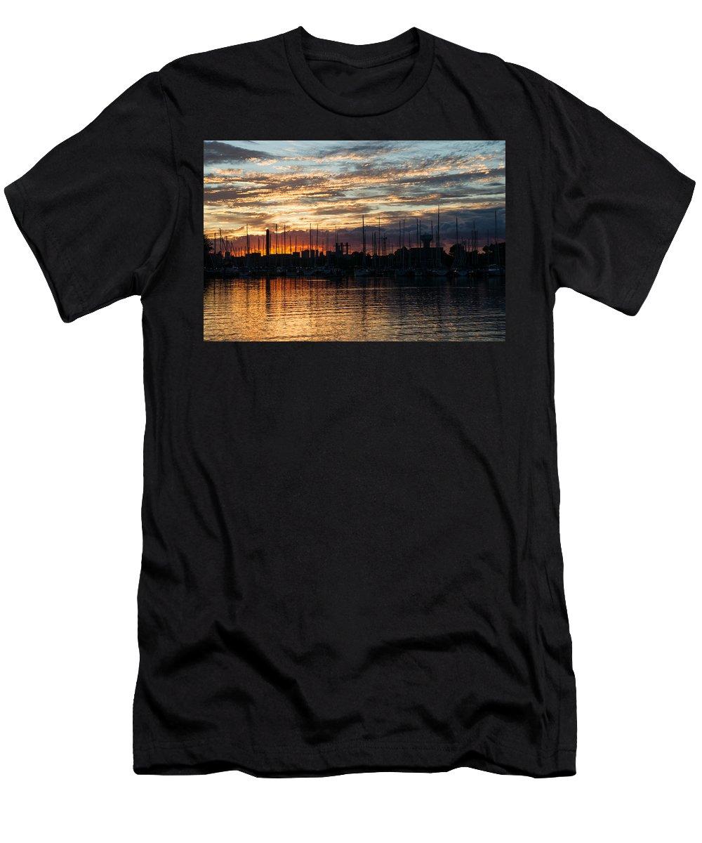 Spectacular Sky Men's T-Shirt (Athletic Fit) featuring the photograph Spectacular Sky - Toronto Beaches Marina by Georgia Mizuleva