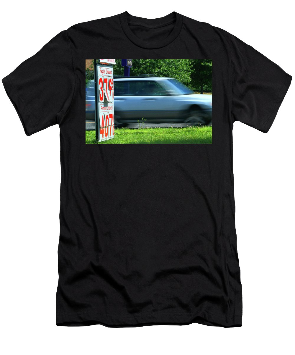 Signs Men's T-Shirt (Athletic Fit) featuring the photograph Speeding Gas Prices by Karol Livote