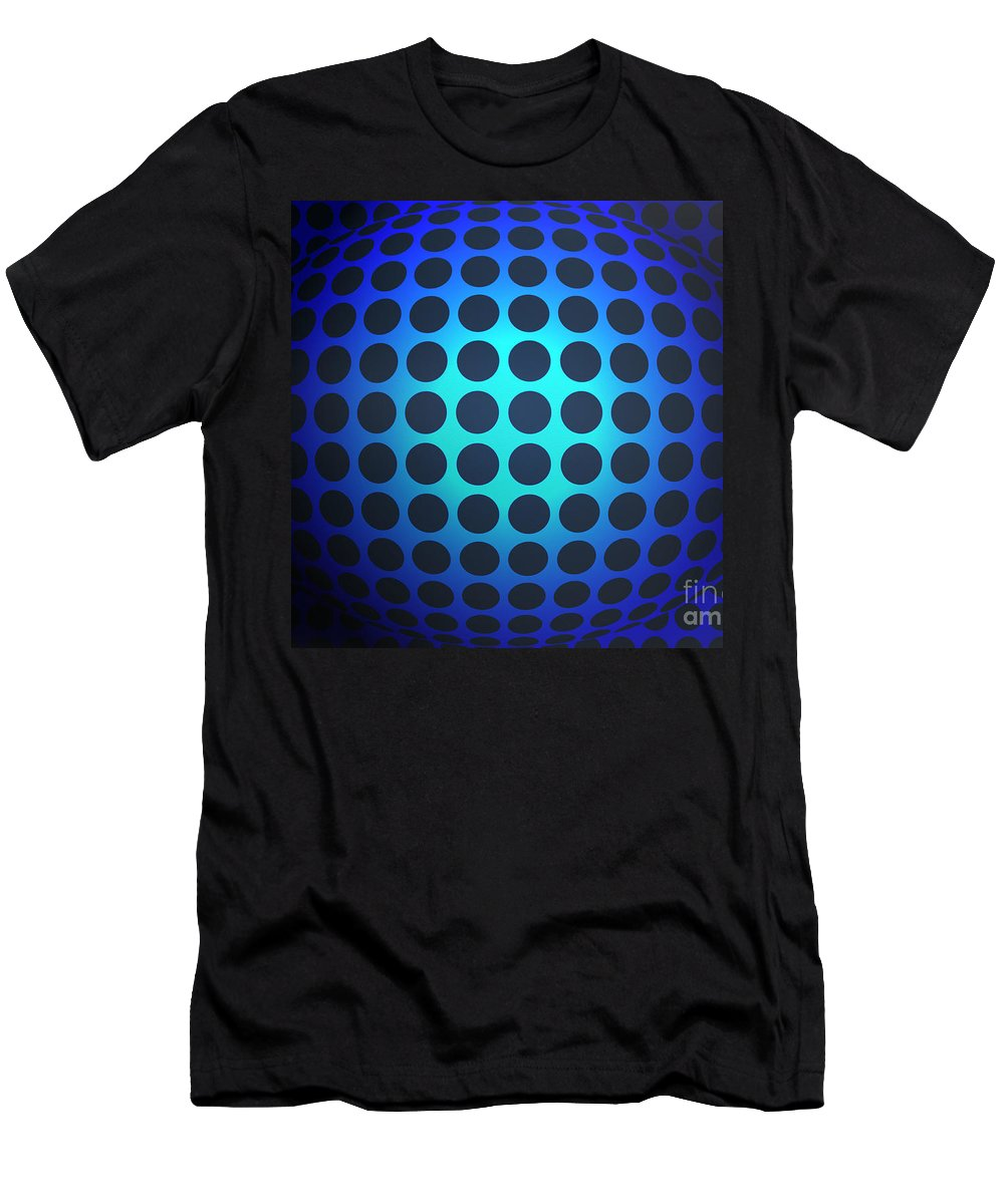 Blue Men's T-Shirt (Athletic Fit) featuring the mixed media Sphere by Lali Kacharava