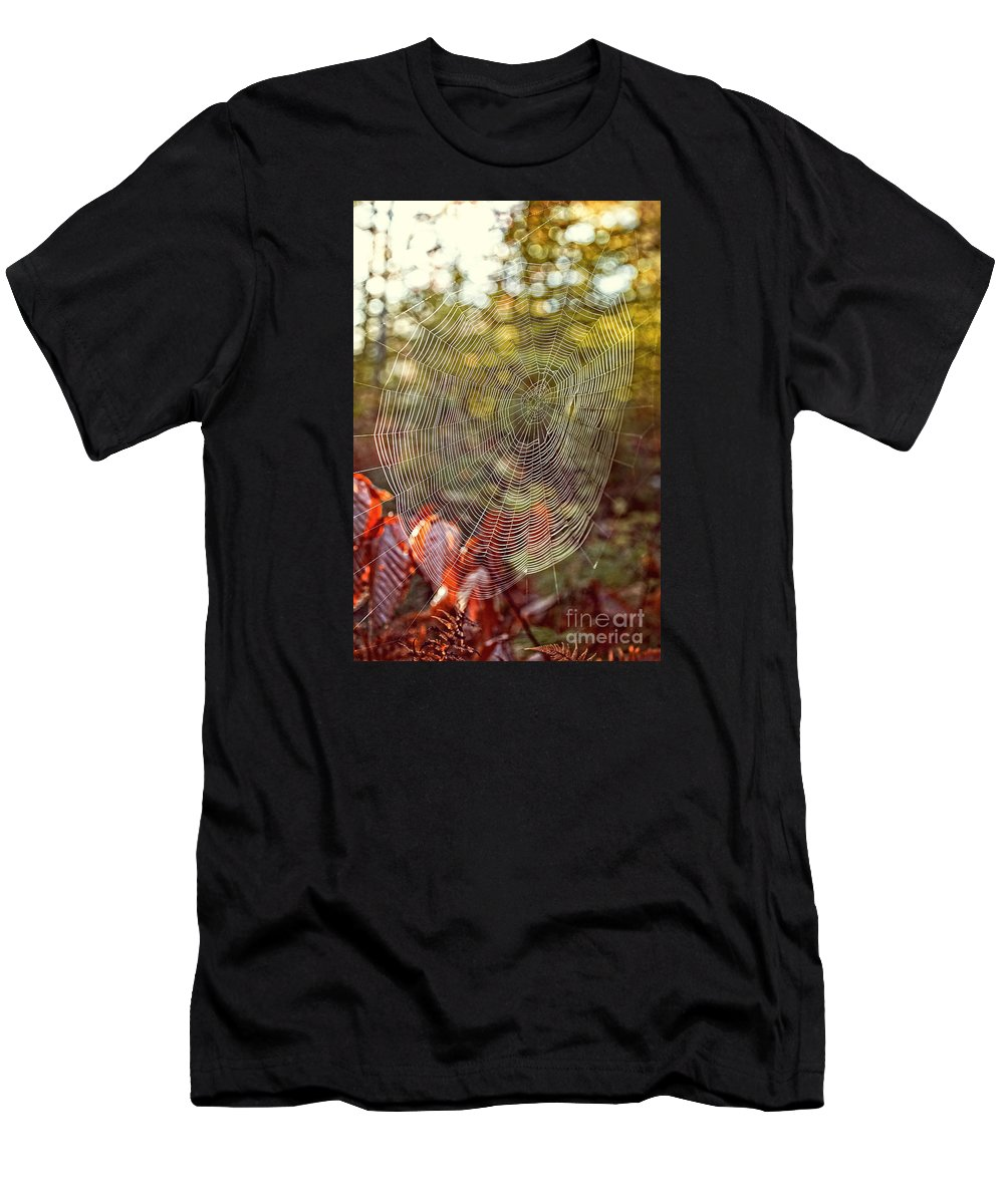 Background Men's T-Shirt (Athletic Fit) featuring the photograph Spider Web by Edward Fielding