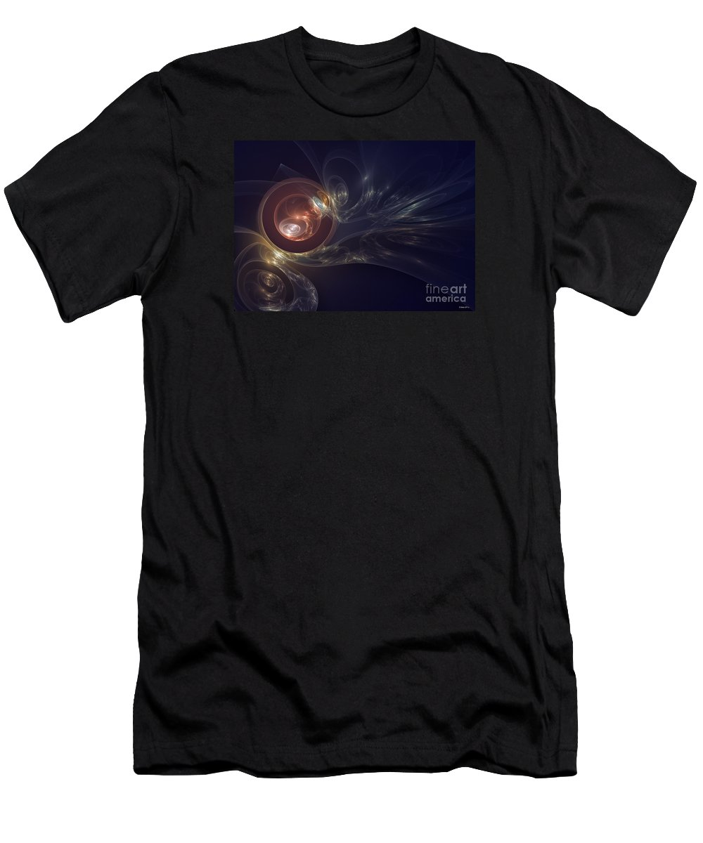 Circles Men's T-Shirt (Athletic Fit) featuring the digital art Spirals In Space by Shari Nees