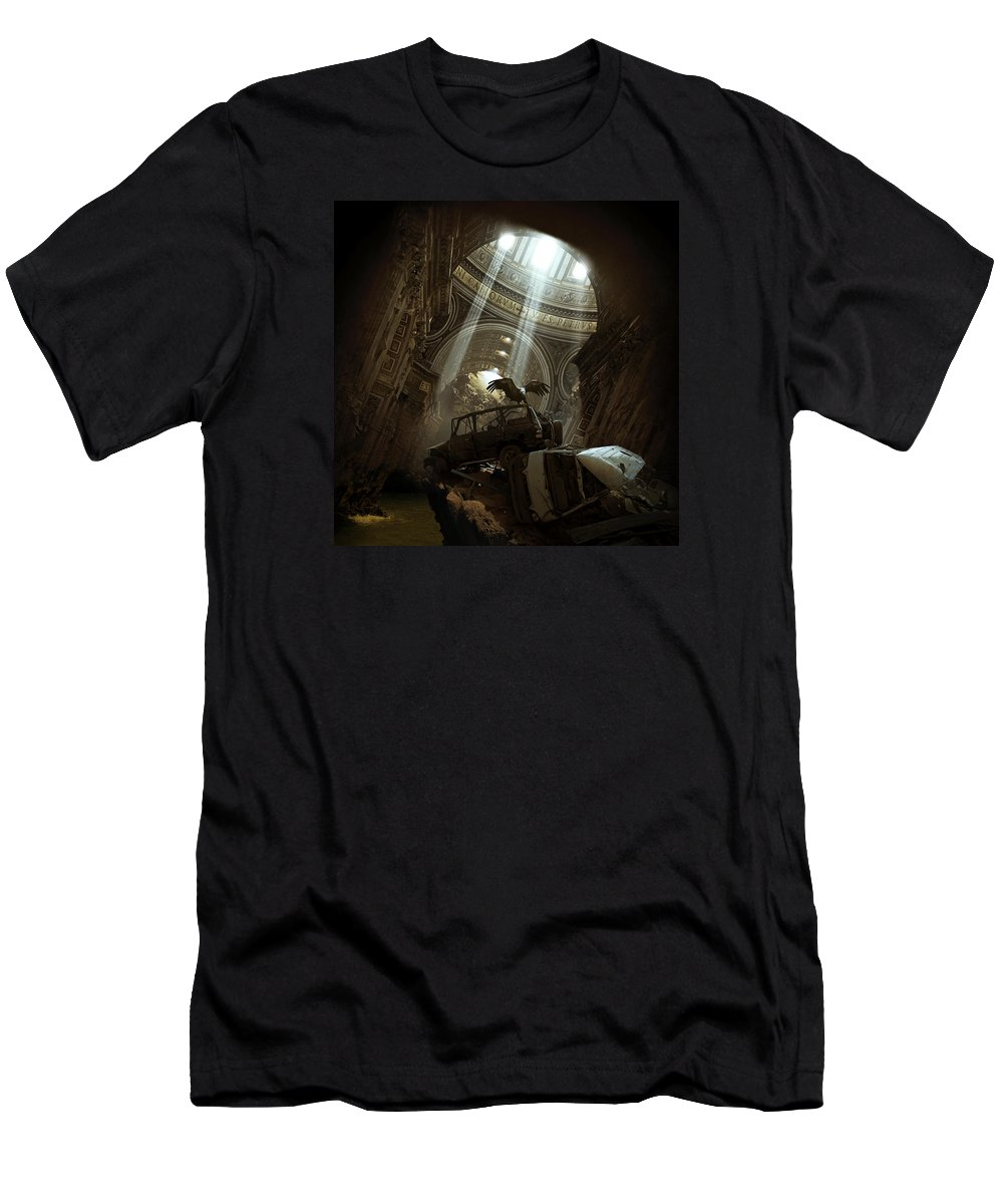 City Ruins Apocalypse Buildings Sun Animal Bird Vulture Sunbeams Abandoned Vatican Church Landscape Photomontage Rocks Loneliness Pond Walls Sciencefiction Fantasy Warm Wreck Car Wreckage Cave Architecture Photomontage Photomanipulation T-Shirt featuring the photograph Spiritual Archives II by Michal Karcz