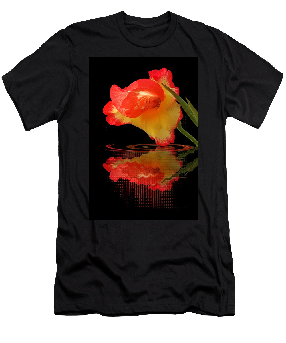Red Flower Men's T-Shirt (Athletic Fit) featuring the photograph Splash Of Sunshine by Gill Billington