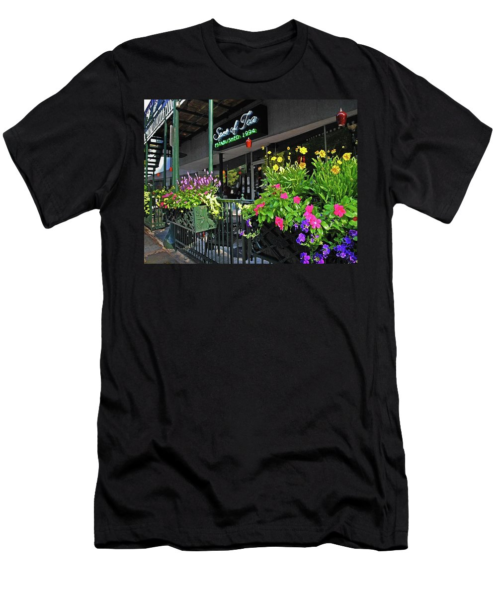 Alabama Photographer Men's T-Shirt (Athletic Fit) featuring the digital art Spot Of Tea Flower Boxes by Michael Thomas