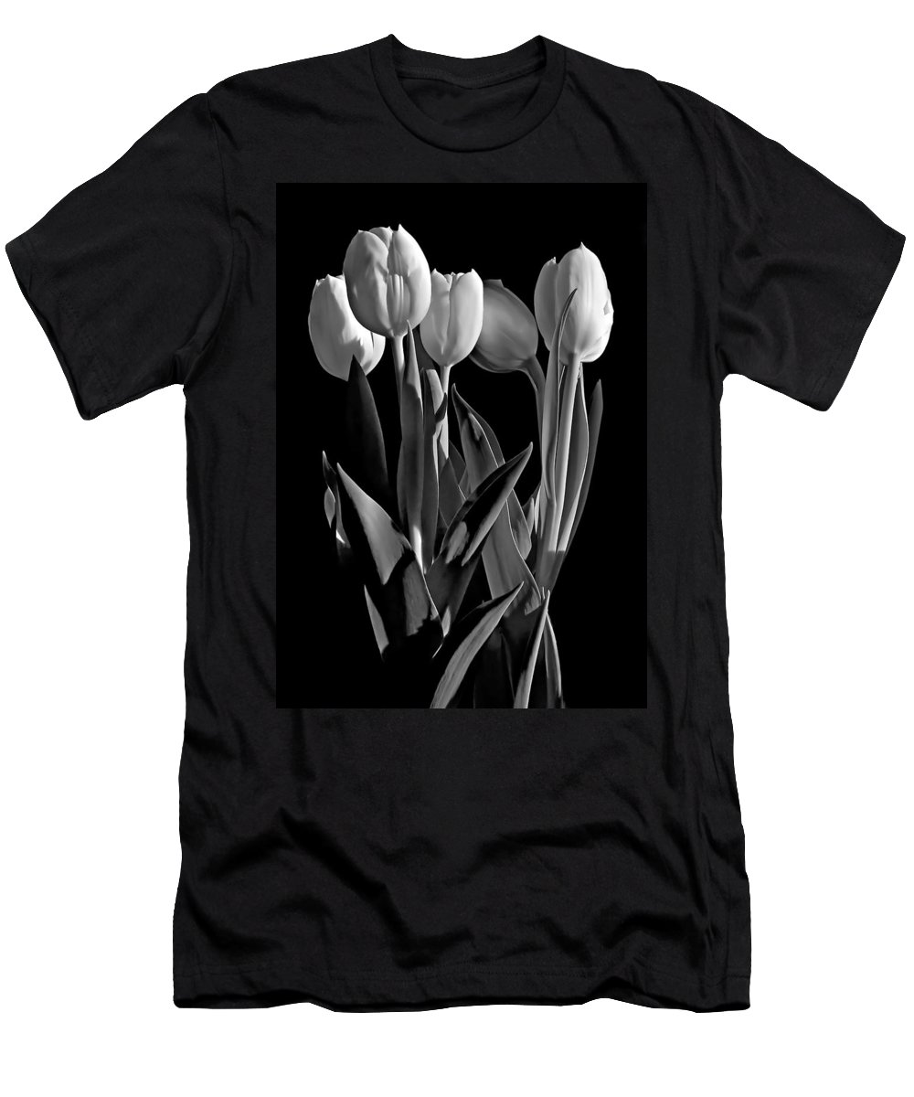 Flower Men's T-Shirt (Athletic Fit) featuring the photograph Spring Beauties Bw by Steve Harrington