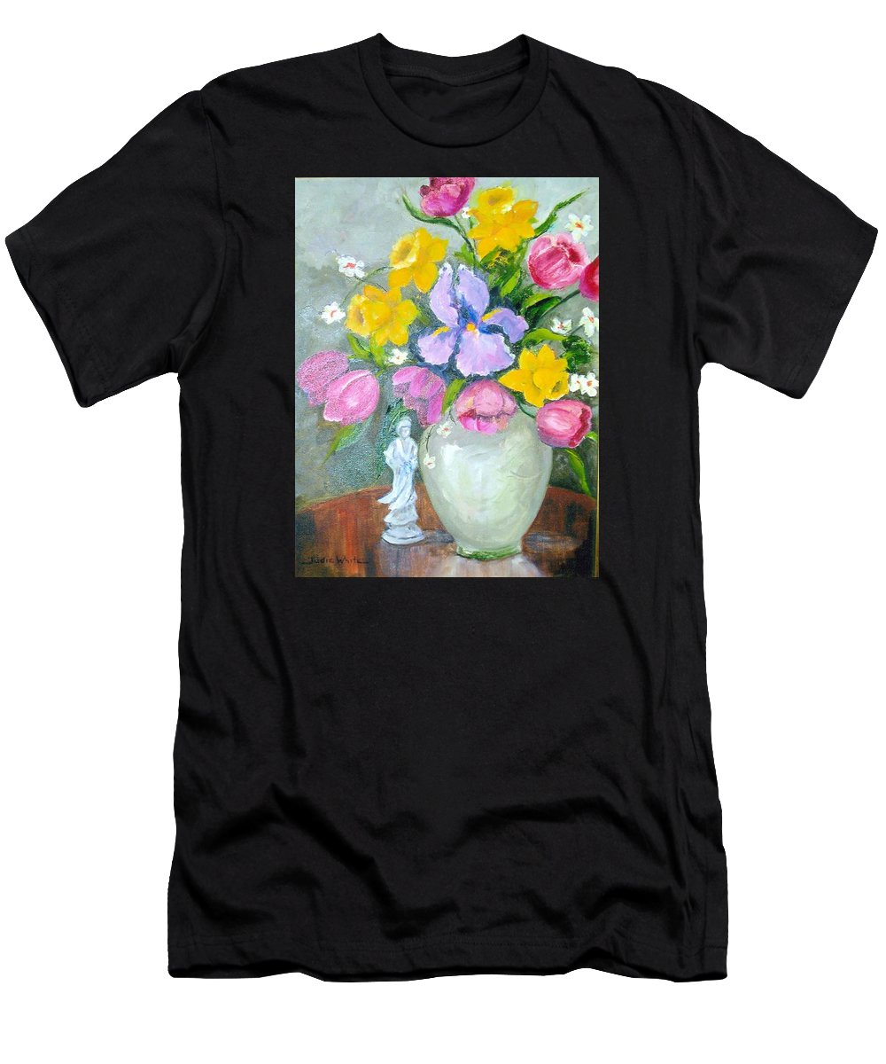 Tulip Men's T-Shirt (Athletic Fit) featuring the painting Spring Blooms by Judie White