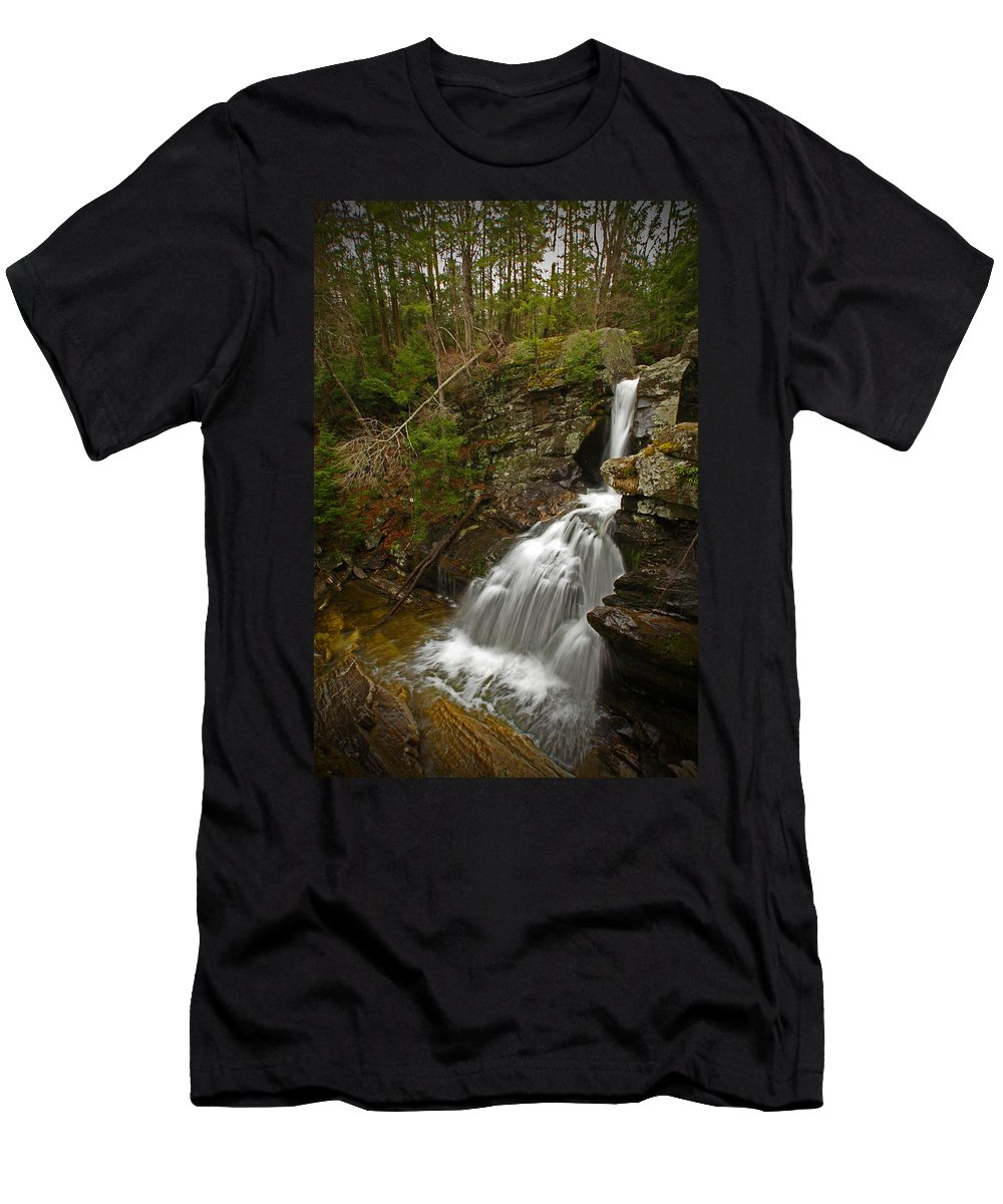 Waterfalls Men's T-Shirt (Athletic Fit) featuring the photograph Spring Falls by Karol Livote