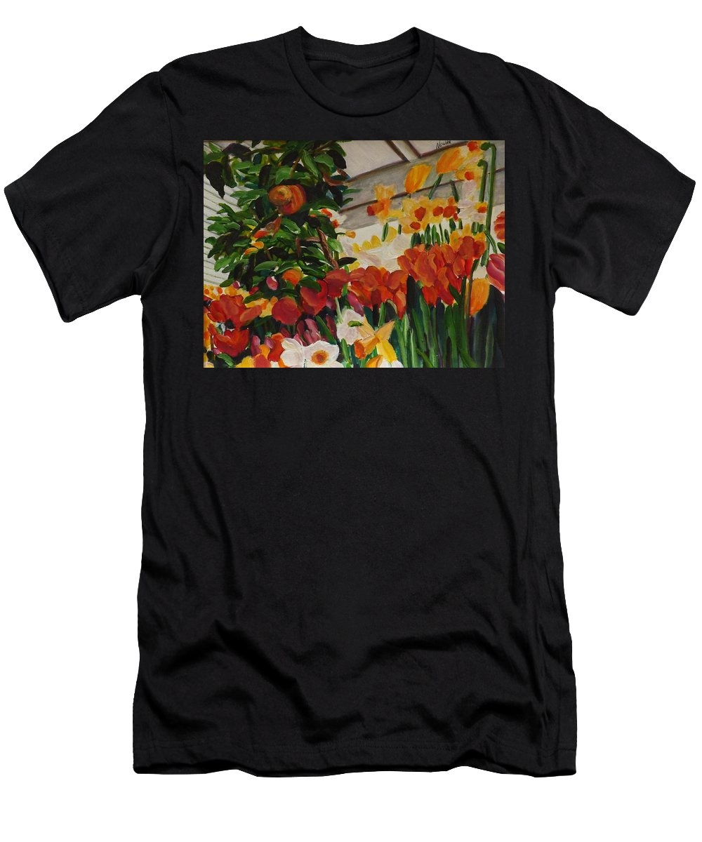 Spring Men's T-Shirt (Athletic Fit) featuring the painting Spring Flowers by Richard Nowak
