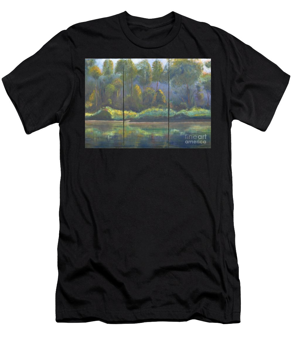 Spring River Coosa Tree Green Water Waterway Sunlight Reflection Tall Tree Blue Sky Yellow Water Front Flow Land Edge Stream Liquid Waterside Channel Men's T-Shirt (Athletic Fit) featuring the painting Spring On The Coosa by Patricia Caldwell