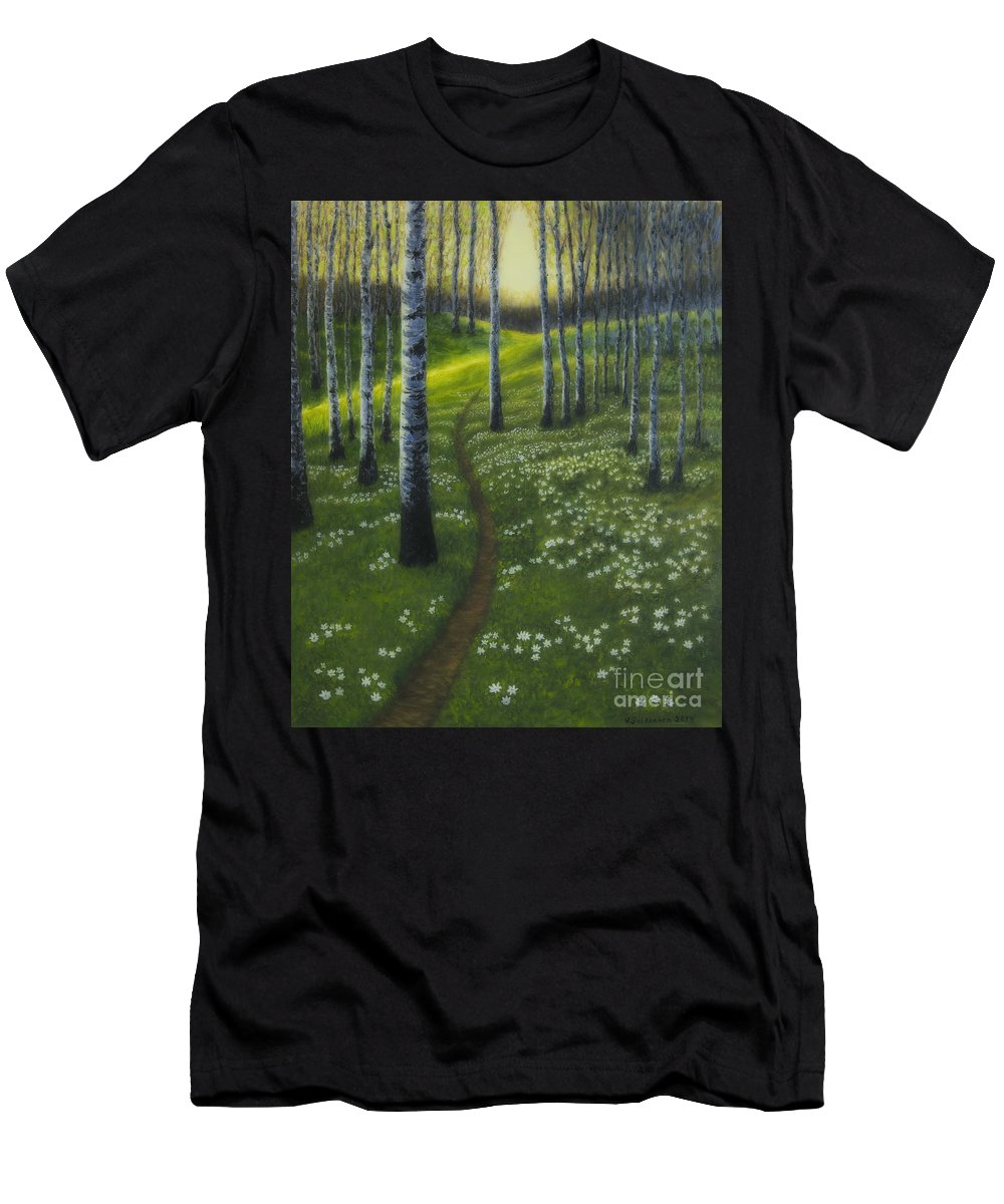 Art Men's T-Shirt (Athletic Fit) featuring the painting Spring Path by Veikko Suikkanen