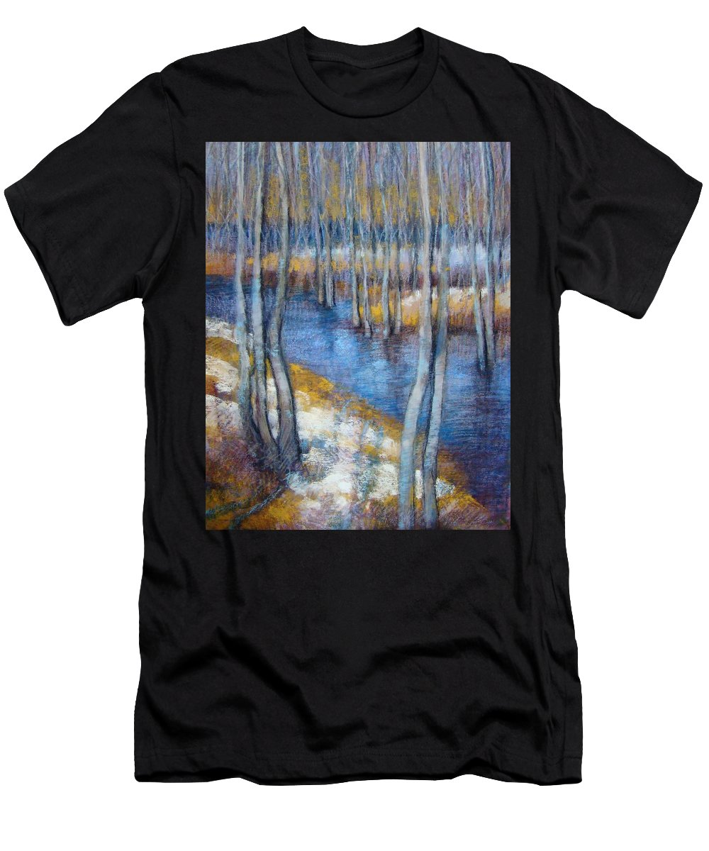 Landscape Men's T-Shirt (Athletic Fit) featuring the pastel Spring River Thaw by Tonja Sell